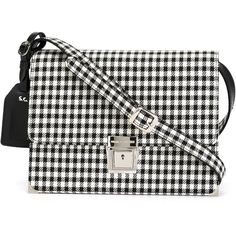 Erika Cavallini Semi Couture Gingham Check Shoulder Bag ($335) ❤ liked on Polyvore featuring bags, handbags, shoulder bags, accessories, crossbody bag, black, cross body, crossbody purse, black crossbody handbags and black handbags