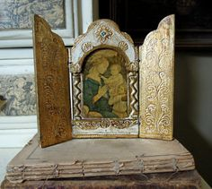 Vintage Florentine Tole Triptych / Icon / by AloofNewfWhimsy, $36.00