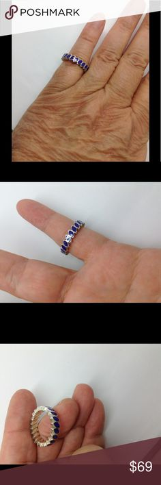 Pandora blue enamel Sterling silver stacking ring Fashion ring. Comes in pink, blue, yellow orange and green Pandora Jewelry Rings