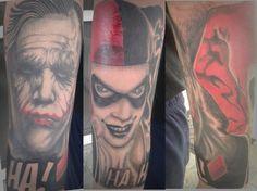 Joker & Harley Quinn Tattoo Half sleeve #joker #harleyquinn #tattoo #madness #jokerandharleyquinn