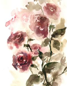 Roses Watercolor Painting Art Print Watercolor Painting Art Print Watercolour Wall Art Color theme: red, green  Professional quality art print on heavy weight 300 gsm paper direct from the artist.  Print sizes: 8x10 (8.5x10.5) 9x12 (9.5x12.5) 11x14 (12x15) Signed and dated on the back. Not framed and not matted.  All prints are gift wrapped in a cellophane insert and cardboard support to best protect, shipped by Registered International Mail with tracking number.  For more Art Prints from my…