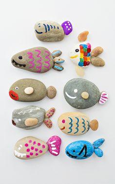Fische aus Dekosteinen basteln, DIY Projekt für Kinder, Dekosteine bemalen, einfach und toll