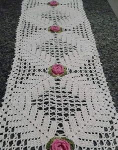 Vintage olive - khaki hand Crocheted cotton table runner table topper tray cloth crochet scarf with flowers Filet Crochet, Crochet Motif, Crochet Doilies, Hand Crochet, Crochet Patterns, Crochet Table Runner, Crochet Tablecloth, Cotton Texture, Crochet Home