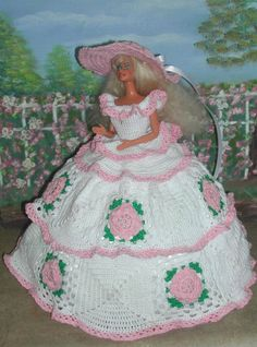 (1) CROCHET FASHION- 444 COUNTRY ROSE for 11 1/2 Fashion Dolls such as Barbie-Original Design from ICS Original Designs- Make with #10 Crochet Thread. If you would like to have the patterns emailed to you rather than mailed shipping will be FREE but please let me know with your