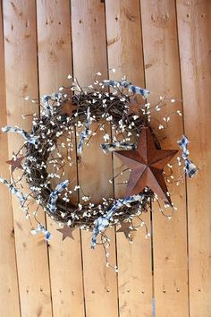 Country Wreath with Star by CreationsPlusFlorals on Etsy, $34.00