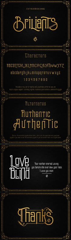 Briliants typeface — TrueType TTF #tattoo #poster • Available here → https://graphicriver.net/item/briliants-typeface/13452151?ref=pxcr