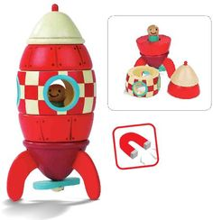 Wooden Rocket Ship Magnitic Stacking Toy by Janod. A great 2 year old toy!