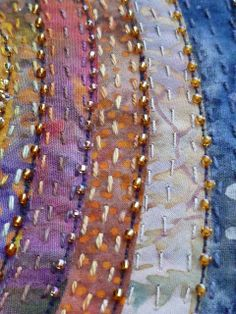 It was a horrible night filled with storm force winds and even the dogs refused to go for a walk this morning. Ribbon Embroidery, Beaded Embroidery, Embroidery Stitches, Crazy Quilt Stitches, Crazy Patchwork, Quilt Border, Vintage Sewing Machines, Quilt Stitching, Hand Quilting