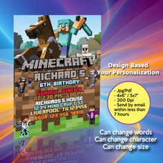 Your printable files will be delivered within 7 hrs or less! We personalize the invitation with your text, and you can print as many as needed. Minecraft Birthday Invitations, Chanel Flower, Lol Dolls, I Am Happy, Graduation Gifts, Rsvp, Wedding Gifts, Birthday Gifts, Cart