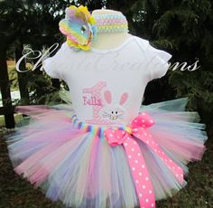 Bunny 1st Birthday Tutu Set--Baby Girl--Pastel Colors--Photo Prop by ChristiCreations on Etsy https://www.etsy.com/listing/126094162/bunny-1st-birthday-tutu-set-baby-girl