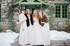 The bridesmaids for this winter wedding have given us all major goals. Long dresses, and vintage furs to keep cozy while posing in the snowy garden courtyard! From a winter wedding in Massachusetts - nothing better than a romantic snow covered mansion! Venue: Willowdale Estate | Photography: Cuppa Photography - cuppaphotography.net/ Read More on SMP: http://www.stylemepretty.com/2016/10/26//