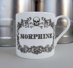 Apothecary Morphine Mug. New coffee mug, tea cup, coffee cup with skull illustration. Sherlock home decor