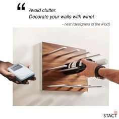 Award-winning STACT wine racks are uniquely versatile, easy to install, and space efficient. Ideal for wine cellars, and premium wine storage applications. Wine Rack Wall, Wine Wall, Wine Bottle Storage, Contemporary Cottage, Wine Collection, Wall Brackets, Wine Cellar, Pure Products, Ipod