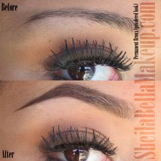 Revamped old hair-stroke eyebrow tattoos with a powder mist finish ...