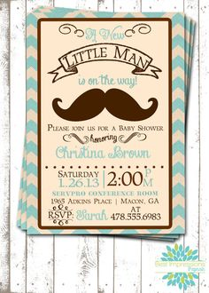 Little Man - A Vintage Mustache Baby Shower Invitation | Baby Boy | Blue and Brown Chevron | Vintage Baby Shower