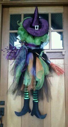 Halloween Deco mesh witch wreath