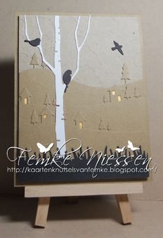 made by femke niessen: landscape card made with several memorybox dies.
