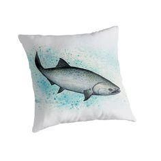 "Throw Pillow • ""Salmon Splash"" - Watercolor art of a chinook or king salmon, by Amber Marine ••• AmberMarineArt.com ••• ©"
