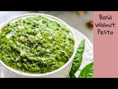 Basil Walnut Pesto is an interesting variation of a very popular sauce recipe called Pesto that is prominently used in the Italian cuisine. Pesto With Walnuts Recipes, Fresh Basil Recipes, Basil Walnut Pesto, Pesto Dishes, Walnut Recipes, Homemade Pesto, Italian Dishes, Fabulous Foods
