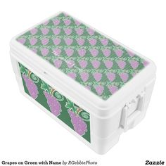 Grapes on Green with Name Ice Chest - $97.95 - Grapes on Green with Name Ice Chest - by #RGebbiePhoto @ #zazzle - #Grape #Purple #Fruit - Decorative grapes background, covering the cooler. Name text on top for easy identification. A bunch of purple grapes on a vine. Forest green background gives this image a natural feel. Great gifts for wine lovers, purple and green natural theme.