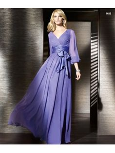 Casual Evening Dress Long-sleeves Evening Wear Bridesmaid Dress Formal Gowns D18029
