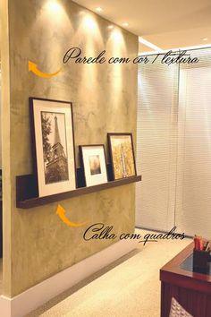 Quadros ganham destaque nas paredes com cor e/ou textura, como esta de cimento queimado Mr. Cryl (Foto: Camila Klein)