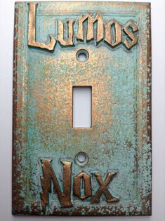 Custom made Lumos/Nox Harry Potter Light switch Cover. Aged Copper in color, Patina paint effect. Includes Screws painted to match Is a faux finish, not real metal. Plate measures Also Available in Double, Triple, Decorator