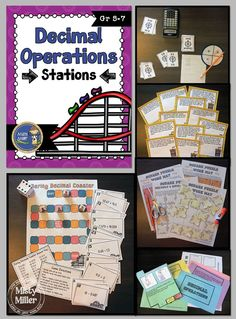 Decimal Operations Stations will give your students an opportunity to practice adding, subtracting, multiplying, and dividing decimals. The activities are perfect for setting up as stations around the room. $ gr 5-7