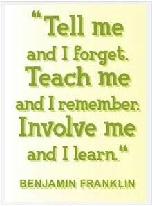 Tell me and I forget. Teach me and I remember. Involve me and I learn by Benjamin Franklin. This is one of my favorite quotes and I will have it hanging in my classroom one day! Great Quotes, Quotes To Live By, Me Quotes, Motivational Quotes, Inspirational Quotes, Career Quotes, Positive Quotes, Fall Quotes, Leadership Quotes