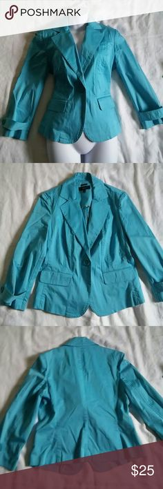 """Talbots Turquoise Blazer Beautiful turquoise one button blazer with 2 hip pockets in very good used condition.  Measures 19"""" armpit to armpit and 24"""" long with 20"""" sleeves. Talbots Jackets & Coats Blazers"""