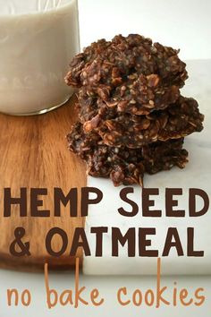 Hemp Seed & Oatmeal No-Bake Cookies Get these healthy no-bake cookies in your belly immediately. Made with hemp seeds, oatmeal, cacao powder, and more delicious and nutritious goodness. Hemp Seed Oatmeal No-Bake Cookie Recipe Oatmeal No Bake Cookie Recipe, Healthy No Bake Cookies, Oatmeal Cookies, No Bake Oatmeal, Oatmeal Cake, Vegan Sweets, Healthy Baking, Healthy Desserts, Healthy Recipes