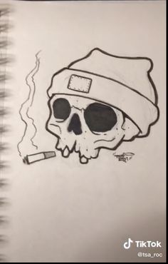 Mini Drawings, Dark Art Drawings, Art Drawings Sketches Simple, Pencil Art Drawings, Doodle Drawings, Doodle Art, Easy Drawings, Simple Skull Drawing, Graffiti Doodles