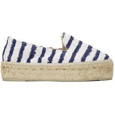 Manebí White Striped Paris Espadrilles (230 NZD) ❤ liked on Polyvore featuring shoes, sandals, white, striped espadrilles, manebi espadrilles, white braided sandals, white sandals and espadrilles shoes