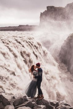 This stunning waterfall engagement photo is taking our breath away! » Praise Wedding Community