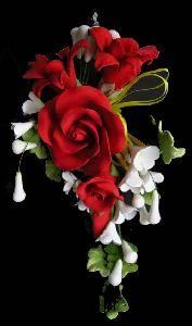 Large tea rose spray red 10 x 20cm