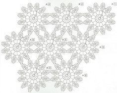 Diagramme étole fleurs japonaises - Japanese flowers -chart only.