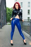 Blouse and Blue Leggings : Photography in Latex Fashion of Lara Larsen