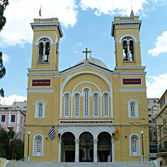 Saint Spyridon Church was built in 1875 on the ruins of a Byzantine Monastery. Ancient Greek Theatre, Old Greek, Roman Roads, Visit Greece, Ancient Ruins, Medieval Castle, Thessaloniki, Place Of Worship, Kirchen