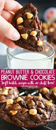Soft batch style Peanut Butter Chocolate Brownie Cookies are the most delicious no-chill chocolate cookies around. Perfect for an after school treat. Chocolate Marshmallow Cookies, Chocolate Peanut Butter Brownies, Chocolate Chip Shortbread Cookies, Toffee Cookies, Peanut Butter Chips, Yummy Cookies, Chocolate Recipes, Cookies Soft, Quick Cookies