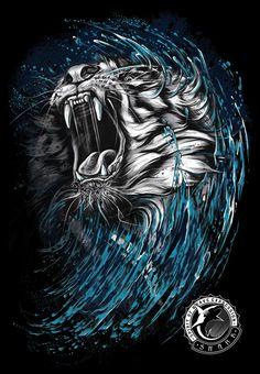 Print disign-Tiger by Kamila Sharipova, via Behance Tiger Illustration, Digital Illustration, Tiger Tattoo, Lion Tattoo, Aztecas Art, Fu Dog, Lion Wallpaper, Drawn Art, Desenho Tattoo