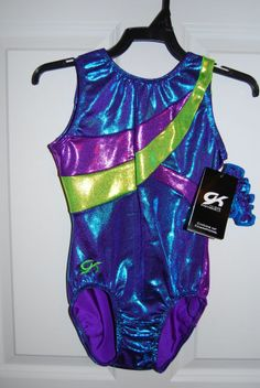 GK Elite Gymnastics Leotard - Blue Raspberry/Grape/Lemon-Lime #GKElite