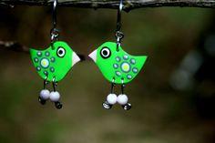 Charming green dangle bird earrings Green by HorakovaDesigns, $19.00