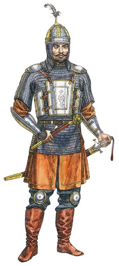 Kazakh noble warrior in mirror armour, 16th-17th century