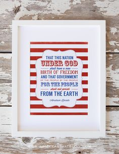 Free Red, White and Blue Frameable Print.