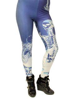"""Women's """"Skeleton"""" Leggings (Blue/White) #InkedShop #skeleton #leggings #style #fashion #womenswear #womnesclothing"""