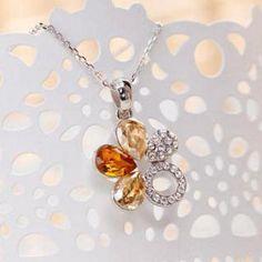 Rhinestone Crystal Flower Pendant Tangerine - One Size Crystal Flower, Crystal Rhinestone, Blue Diamonds, Flower Pendant, Drop Earrings, Crystals, Flowers, Jewelry, Jewlery