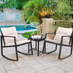 """Patio chairs are the key """"ingredient"""" for the patio space you have. Not only can they add up in terms of decoration, they will also serve as means to a good time with friends and family. With the right pick, you will transform your outside space in visuals and allow yourself some enjoyable relaxing time on your patio. Patio Furniture Sets, Furniture Design, Have A Nice Afternoon, Beige Cushions, Patio Chairs, Outdoor Gardens, Balance Design, House Design, Rattan"""