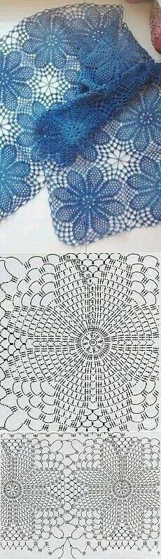 56 Ideas for crochet granny square shawl pattern charts Filet Crochet, Crochet Lace Scarf, Crochet Diagram, Crochet Chart, Thread Crochet, Crochet Motif, Irish Crochet, Crochet Doilies, Crochet Stitches