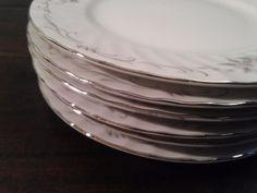 6 Six Vintage Pink White Porcelain Gold Standard Silver Floral Bread Plate Japan #GoldStandard #TTB