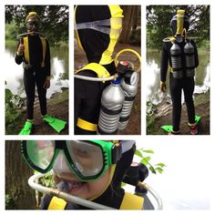 Caroline made this awesome scuba diver costume with Jalie 3135 skinsuit pattern: http://www.jalie.com/jalie3135-skinsuit-sewingpattern.html